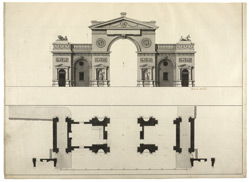 Section and Plan of a Gateway to Westminster at Hyde Park Corner